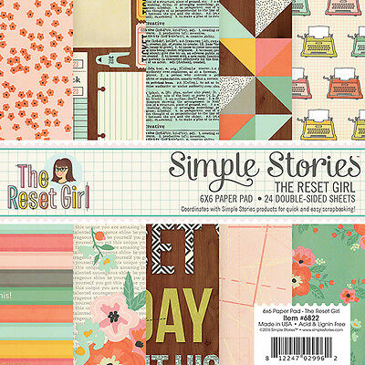 Simple Stories - Double Sided Paper Pad - 6x6 24 Pack The Reset Girl -  - 12 De