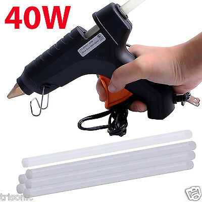 40W Full Size Large Glue Gun With 6 Free Clear Glue Sticks Hot Melt Arts Craft