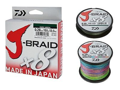 Daiwa J-Braid X8 Fishing Line 300M Spool Dark Green or Multi Colour RRP £33