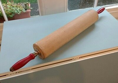 Vintage Rare HUGE Rolling Pin with Red Handles