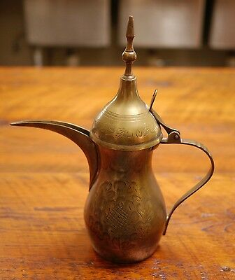 Antique Vtg Arabic Middle Eastern Turkish Brass Tin Coffee Dallah Tea Pot 10.75""