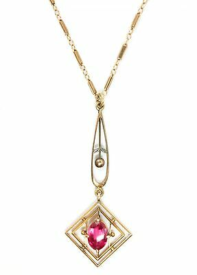 Superb Antique c1900 Secessionist 14K Gold Ruby Lavalier Pendant Necklace