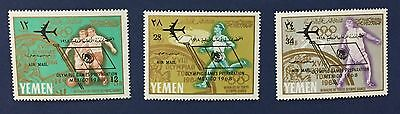 Yemen 1966 3 Val.+Sheet Mnh** Optd Air Mail Olympic Games Prep. Mexico 68