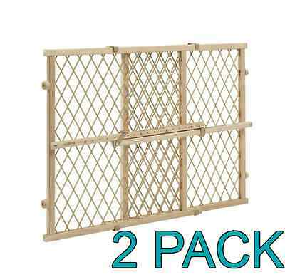 2 Pack Evenflo Position and Lock Wood Gate for Baby and Pet, Tan
