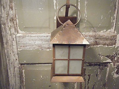 Solid Brass Light Fixture Sconce 17th 18th Century Antique Patina Lantern Frost