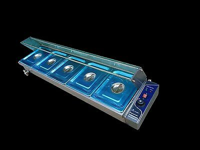 S/steel Hot Food Warmer Bain Marie 5 X 1/2 Gn Trays+Cover Glass Display Wty
