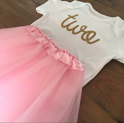 Girls 2Nd Birthday Outfit, Pink Tutu, Gold Glitter Two, 18-24 Months Long Sleeve
