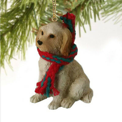 LABRADOODLE (CREAM BLONDE) DOG CHRISTMAS ORNAMENT HOLIDAY Figurine scarf gift