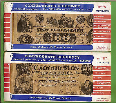 #d227. Set Of 12 Confederate Replica Banknotes