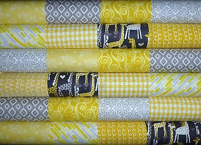 24 Yellow Grey prints patchwork quilting fabric 5 inch squares #86