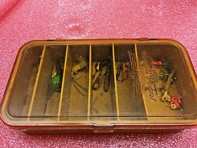 FT3 Fenwick Woodstream Mini Tackle Box Case 6x3x1.5 VINTAGE with jigs ice fishin