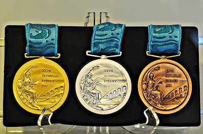 2000 Sydney Olympic Medals Set (Gold./Silver/Bronze) Ribbons & Display Stands !!