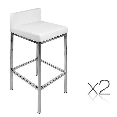2 x Metal Padded Kitchen Bar Stool Low Backrest Breakfast Cafe Seat Chair White