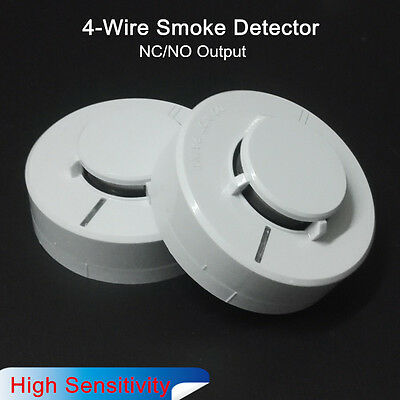 2x DC12V 24V Fire Alarm Sensor with Relay Output Wired NC / NO Smoke Detector