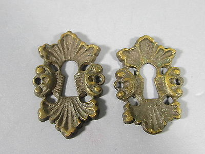 Pair of Fancy Cast Brass Key Hole Covers / FREE Shipping