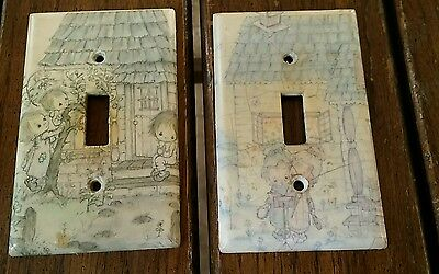 vintage light switch covers plastic paper covered children and cottage pattern