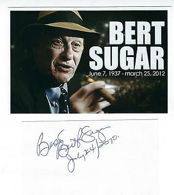 Bert Sugar Autographed 3x5 Index Card & HP 4x6 Photo Boxing Writer Personality