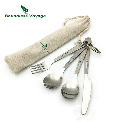 Titanium Cultery Set Spoon Spork Fork Knife Set Picnic Camping Flatware Set