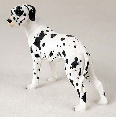 GREAT DANE Harlequin UnCropped DOG Figurine Statue Hand Painted Resin Gift