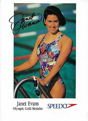 Janet Evans Autographed Speedo Promo Photo Olympic Swimming Gold Medalist
