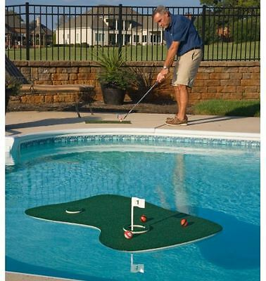 Fun Floating Putting Green, Golf Pool Practice Game w/ Mat Flag Tee Balls & Goal