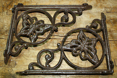 4 Cast Iron Antique Style BUTTERFLY Brackets, Garden Braces Shelf Bracket HEAVY