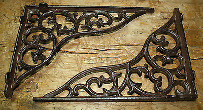 6 Cast Iron Antique Style HEAVY DUTY VINE Brackets Garden Braces Shelf Bracket