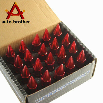 RED SPIKED Extended Tuner 60mm Aluminum Lug Nut Nuts Wheels Rims M12X1.5 20PCS