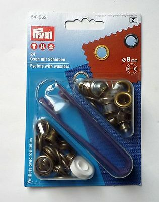 Prym 24 eyelets with washers and tool 8 mm old brass 541362