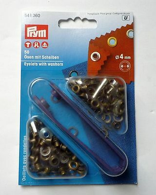 Prym 50 eyelets with washers and tool 4 mm old brass 541360