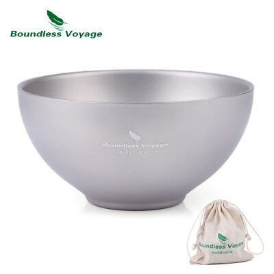 Boundless Double Walled Titanium Bowl Camping Tableware Picnic Bowl only 79.1g