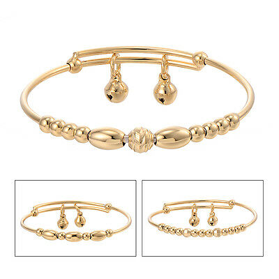Baby Child Toddler Jewelry Real Gold Filled Bell Bangle Adjustable Bracelet