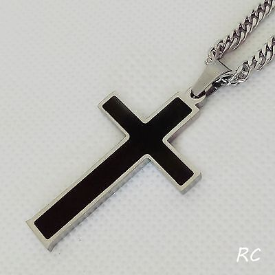 Large Stainless Steel Cross Pendant Curb / Black Leather Necklace Custom Length