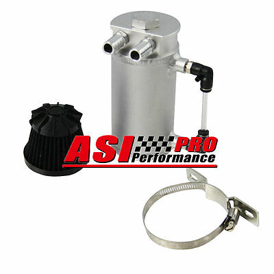 Pro Aluminum Oil Reservoir Catch Can Tank With Breather Filter Baffled Silver Uk