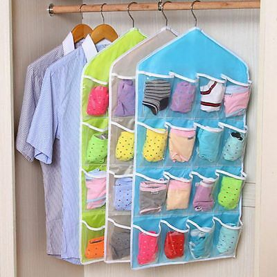 16 Pockets Closet Door Wall Hanging Organizer Socks Underwear Storage Stuff Bag