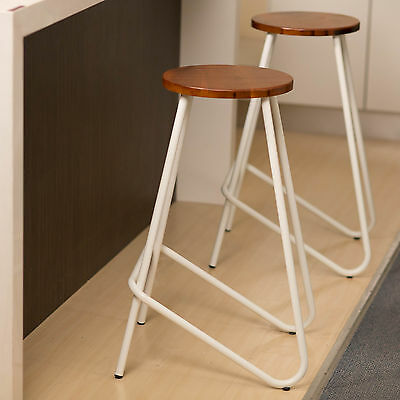 2 x Metal Bar Stool ELM Kitchen Natural Wood Chair Stools WHITE Industrial