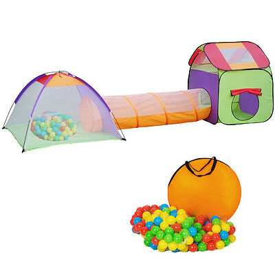 Pop up childrens kids play tent and tunnel +200 balls bag pit playhouse garden