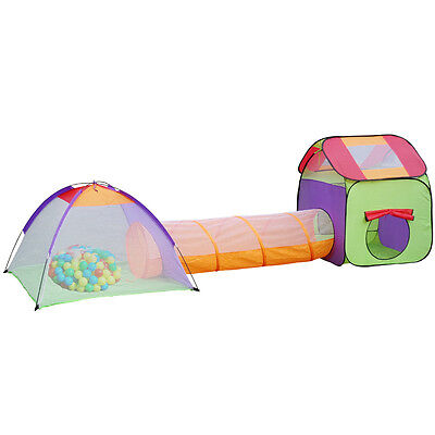 Pop up Kids Play Tent Game with Tunnel Children Toys House Portable 3 in 1