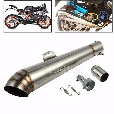 Motorcycle 38-51mm Motorbike GP Stainelss Exhaust Pipe MufflerSilencer on Street