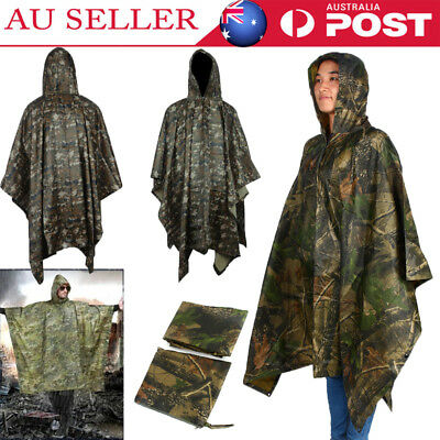 NEW Military Rain Coat Ripstop Hooded Poncho Waterproof Camping Hiking Cape