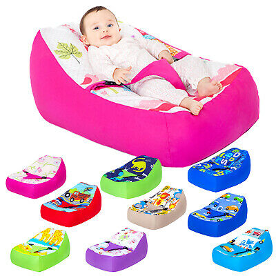 Nursery Baby Bean Bag with Filling Cotton Secure Zipped Cover Seat Chair Beanbag