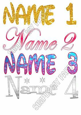 IRON ON TRANSFER or STICKER - PERSONALISED NAME COLOUR FONT WEDDING GOLD PINK