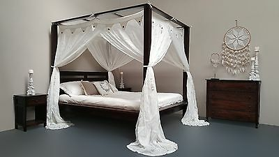 Maxi Minimalistic Four Poster Bed Hand Carved Teak Wood Walnut Queen Size