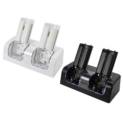 2 Dock Charger Station 2x Battery Black/White for Nintendo WII Remote Controller