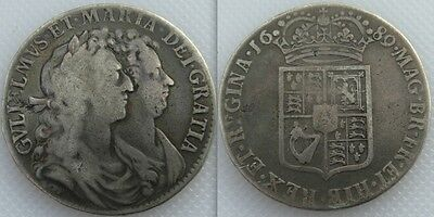 Collectable 1689 King William & Mary Silver Milled Half-Crown