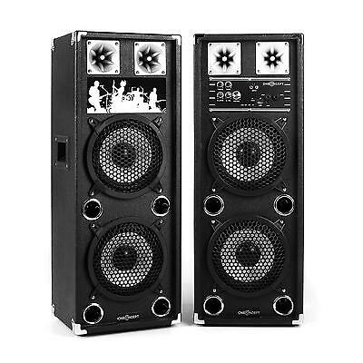 DJ PA PACK SONO AMPLIFIE 2x ENCEINTE 2 x SUBWOOFER 20CM USB MP3 SD MIC IN