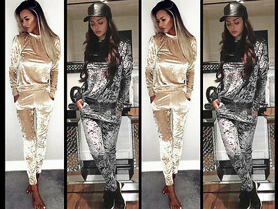 Ladies Crushed Velvet Lounge Suit Set Sleeve Sweatshirt Home Wear Xmas Tracksuit