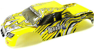 08307 1/8 Scale RC Nitro Monster Truck Body Shell Cover Yellow Cut