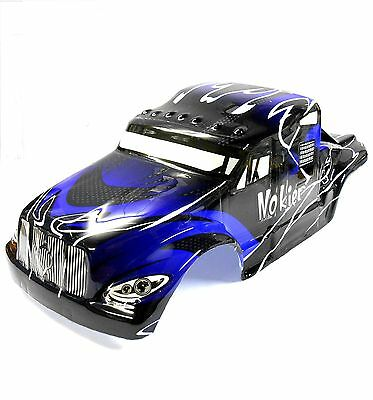 08326 1/8 Scale RC Nitro Monster Truck Body Shell Cover Black Blue Cut