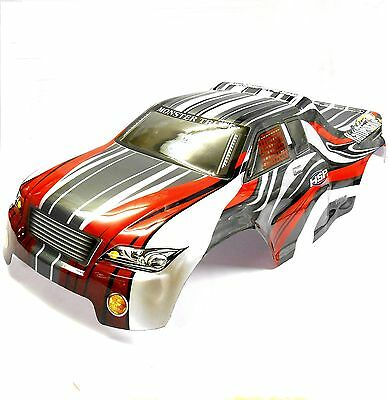 08706 1/8 Scale RC Nitro Monster Truck Body Shell Cover Grey Red Cut